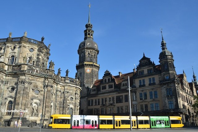 Colorful Tram at Dresden Germany