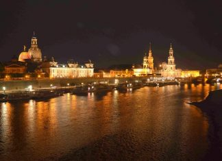 Dresden River Front at Night