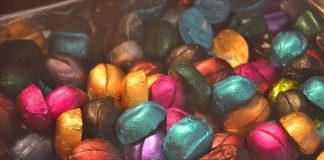 Variety of Coffee Chocolates in colorful wrappers