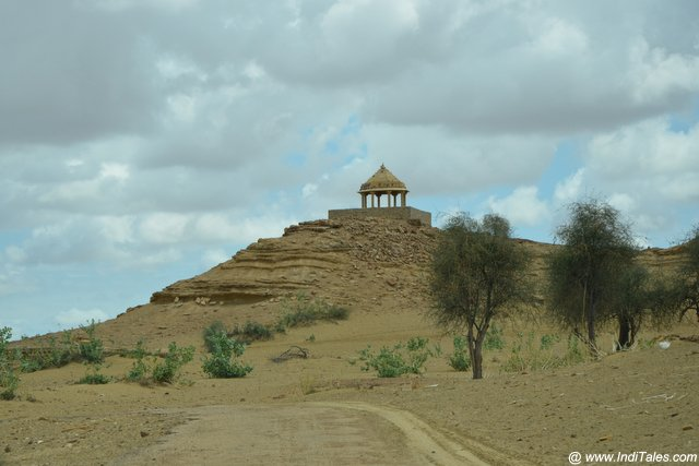 Chhatri structure atop a hill near Kuldhara