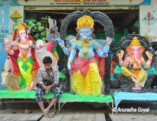 Colorful Ganesha Idols on sale during Ganesh Chaturthi