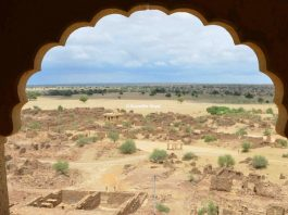 View of Kuldhara, the cursed villages of Jaisalmer from Khaba Fort