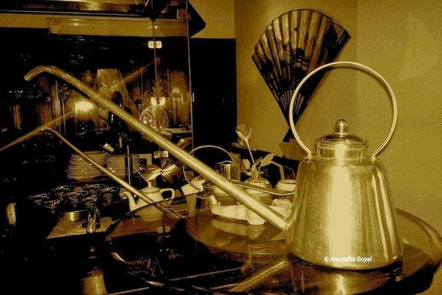 Longnose Tea kettle used to serve Chinese tea at Taj Krishna, Hyderabad