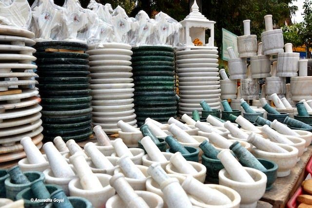 White and Green marble utensils on sale at Chilkur Balaji Temple