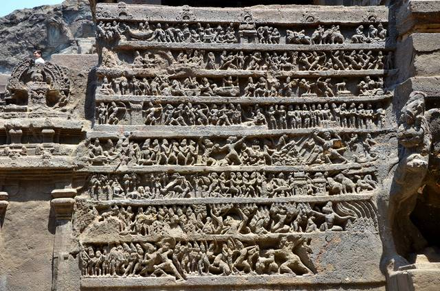 Epic Ramayana carved on a single stone at Ellora Caves