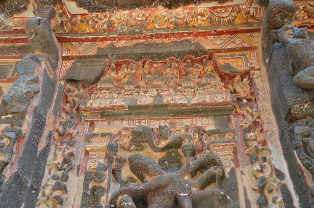 Remains of the old paintings on the walls of Ellora Caves