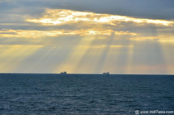 Sun-rays lighting the ships
