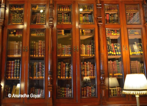 Rare books at the library in Falaknuma Palace