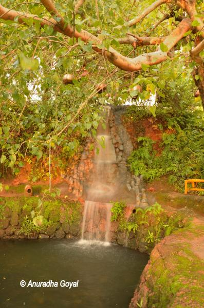 Artificial pond and waterfall