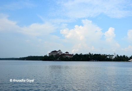 Landscape view of ITC's Raviz Ayurvedic Resort & Spa at Kollam from the Ashtamudi lake