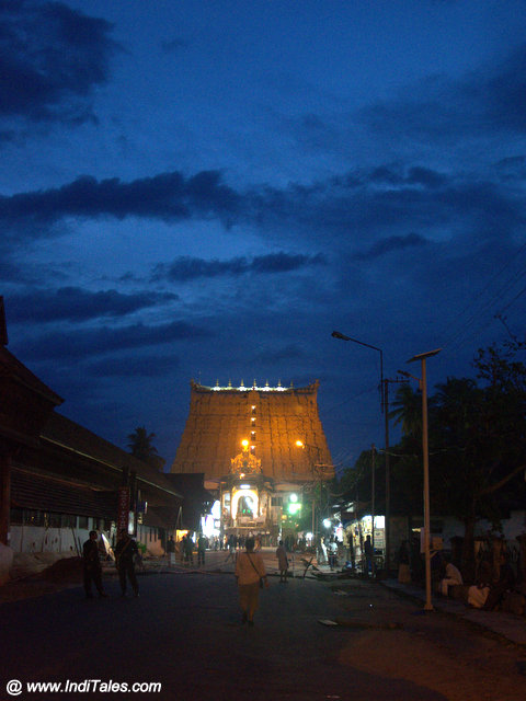 Padmanabhaswamy Temple front view at dusk