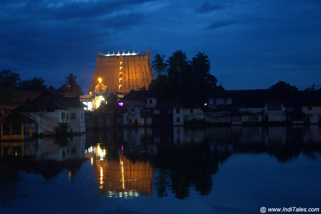 Dusk view of Padmanabhaswamy Temple