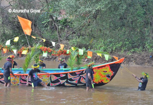 Colorfully decorated boat during Sao Joao festival, Goa