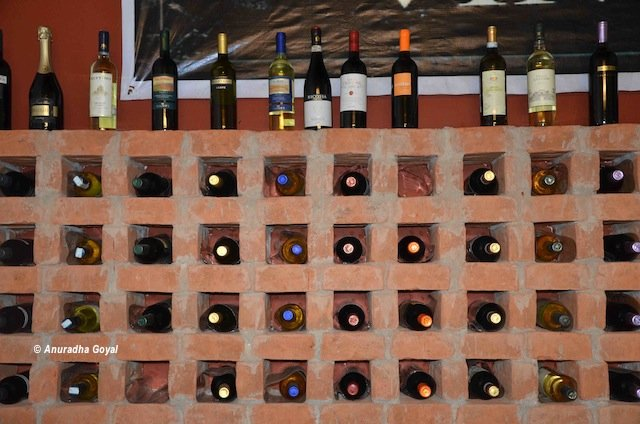 Wine storage and display at Baba's Wood Cafe