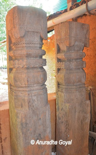 Carved wooden pillars
