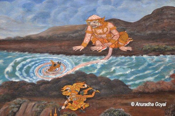 Hanuman and his magical tail playing games