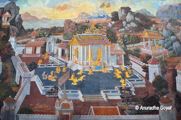 Palace scene in Ramayana Paintings at the Grand Palace, Bangkok