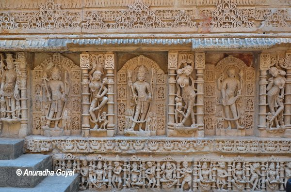 Three Avatars of Vishnu demarcated by sculptures of Madanikas at Rani ki Vav