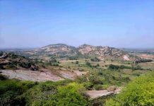 Landscape view of the Yadagirigutta Hills, Hyderabad