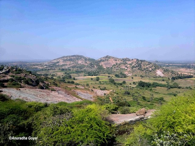Landscape view of the Yadagirigutta Hills, Hyderabad