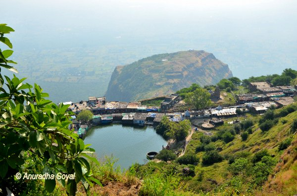 Lake and settlement around it on Pavagadh Hill