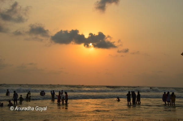 Sunset revelers at Colva beach