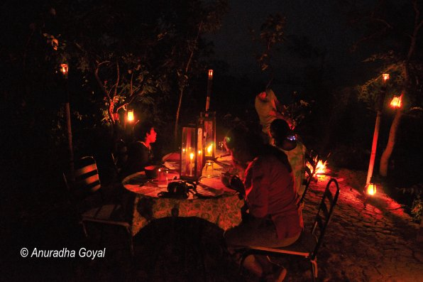 Candle lit dinner by the Denwa river backwaters