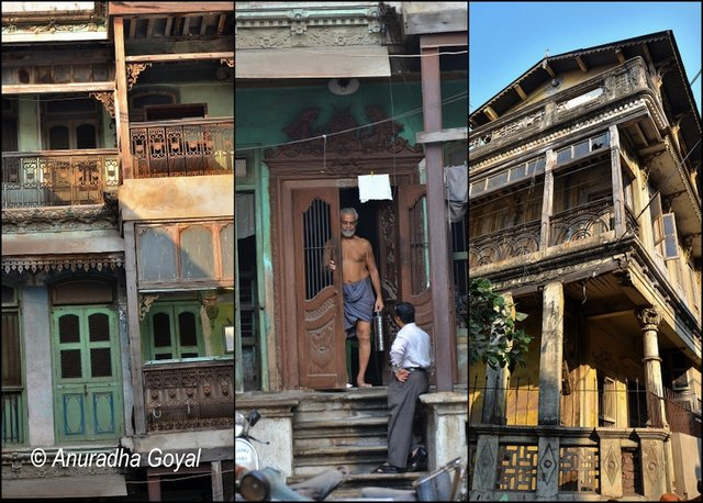 Carved Wooden Facades of Houses in Pols of Ahmedabad