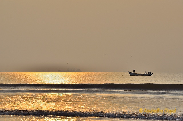 Fishing Boat in the seas at golden hour, Goa