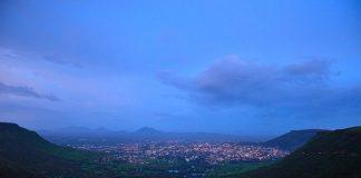Satara city view at dusk from the hills