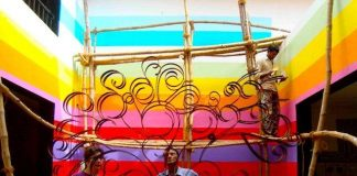 Vibrant background colors at Utopia Dystopia Goa week 2