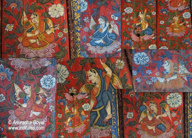 A collage of paintings on the walls of Tambekar Wada