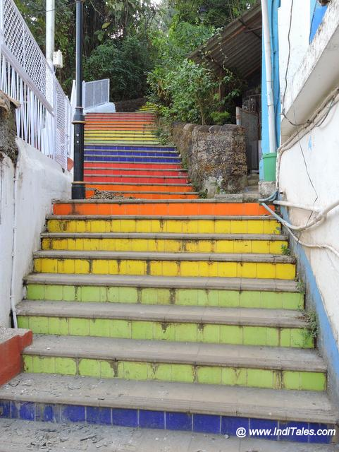 Colorful staircases joining the Fontainhas to Altinho hill