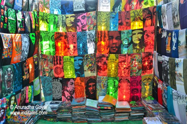 Colorful T-shirts at Anjuna Flea market