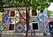 A colorful tiled wall at Fontainhas