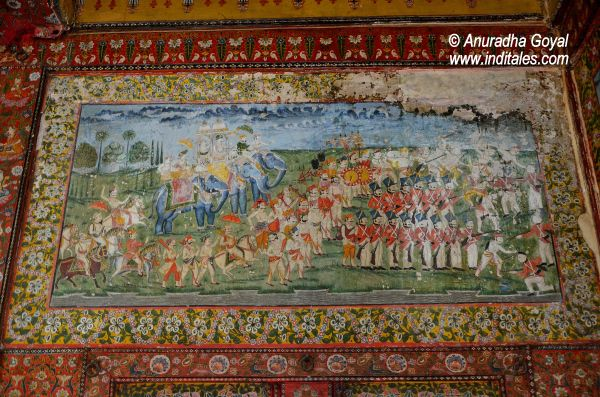 Defense forces paintings on the walls of Tambekar Wada