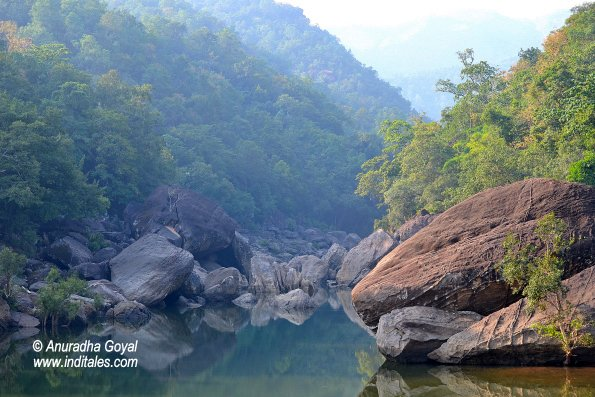 Reflecting rocks landscape view of Satpura National park