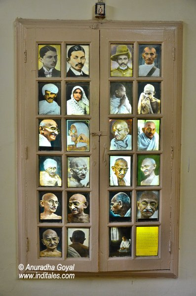 Portraits of Mahatma Gandhi at Satyagraha Ashram