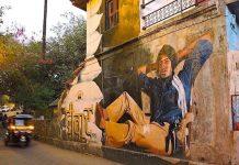 Popular Amitabh Bachchan Deevar movie mural, Street Art in Bandra