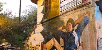 Popular Amitabh Bachchan Deevar movie mural, Street Art in Bandra