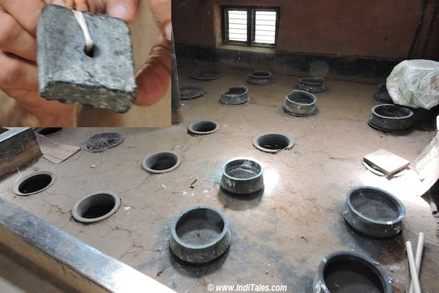 The piece of Indigo Dye and the floor with pots to Dye