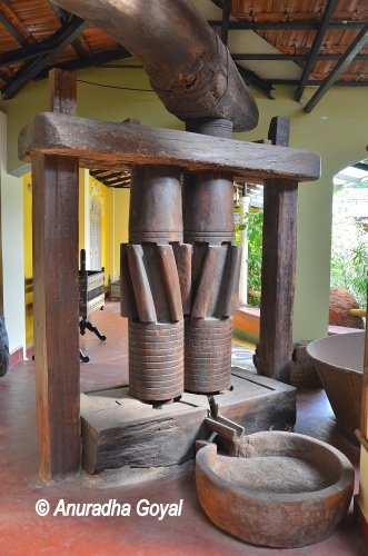 Traditional sugarcane Juice extraction equipment at Goa Chitra museum