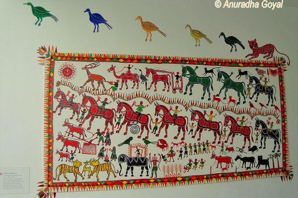 Tribal Art Wall Mural at Tara Books, Chennai