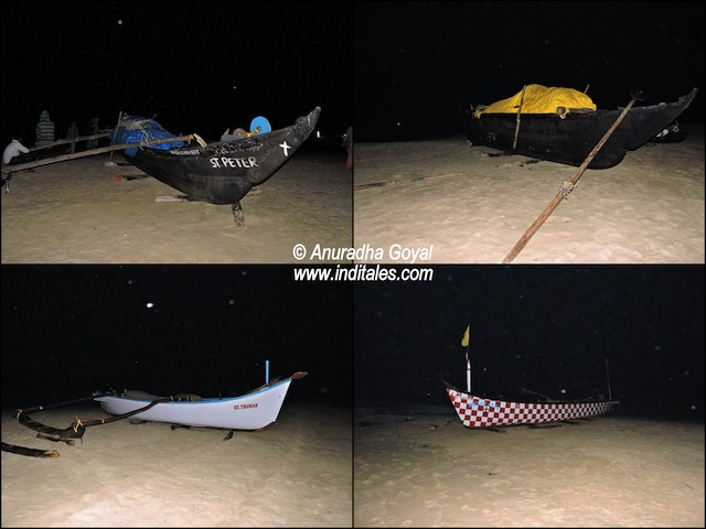 Boats on the beach during night walk on a beach