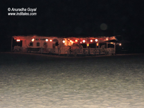 Beach Shacks during night walk on a beach