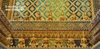 Ornate borders on the walls of Grand Palace Bangkok
