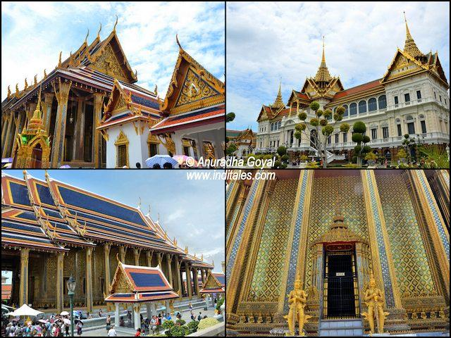 A collage of different architectural styles at Grand Palace Bangkok