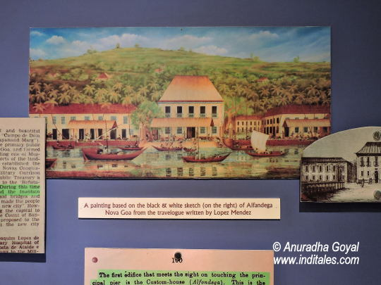 A painting shows the old Avatar of the Blue Building at Panaji, Goa