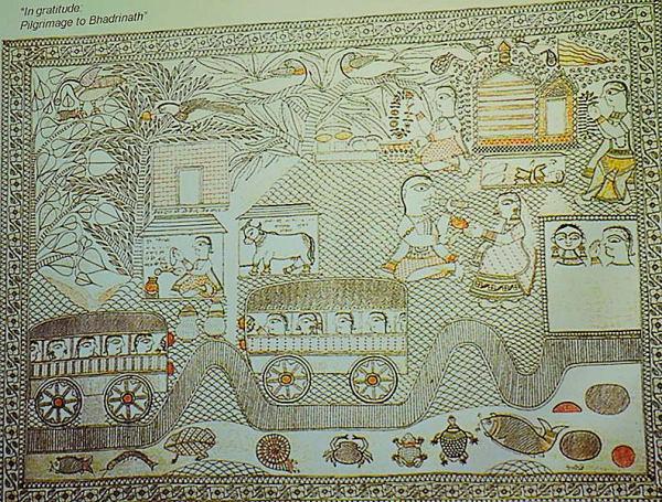 Badrinath Pilgrimage, Ganga Devi's Madhubani Painting