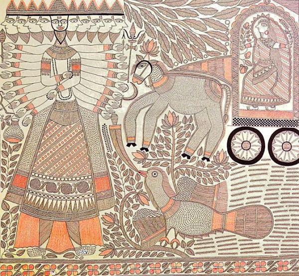 Ramayana Painting - Killing of Ravana, Ganga Devi's Madhubani Painting